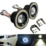 2PCS 20W 3.5 Inch LED Projector Car Fog Lights White with COB Angel Eyes Halo Rings Bulb White