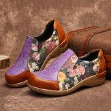 Mocassins confortables en cuir à couture rétro pour femmes
