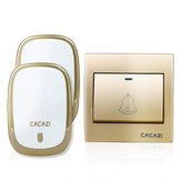 CACAZI AC110-220V Wireless Doorbell Waterproof 1 Button+2 Plug-in Receivers 300M Remote Music Door Dell