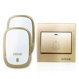 CACAZI AC110-220V Беспроводной дверной звонок Водонепроницаемы 1 кнопка + 2 съемных приемника 300M Дистанционный Музыкальная дверь Dell