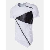 Summer Mens Hip-Hop Hit Color Zipper T-shirt O-neck Short Sleeve Casual Cotton Tops Tees
