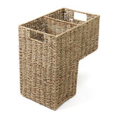 2 Compartments Wicker Handwoven Stair Step Storage Baskets