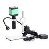 HAYEAR 48MP Câmera do microscópio de vídeo digital industrial + 100X lente C-mount + 56 LED Ring Light para Solda Reparação + Stand Holder