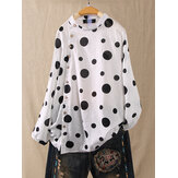 Polka Dot Print Button Plus Size Shirts