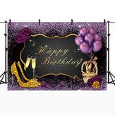 5x3FT 7x5FT 8x6FT Фиолетовая роза Воздушный шар Золотой С Днем Рождения Фотография Фон Фон Студия Проп - 0,9x1,5 м