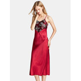 Satin Sling Flora Printed Backless Thin Longlined Sleepwear Nightgown