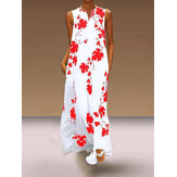 Sleeveless V-neck Floral Long Maxi Leaf Print Dress
