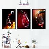 Arte pintada à mão da parede de vidro de W-ine vermelho das pinturas decorativas de combinação de Miico três para a decoração home