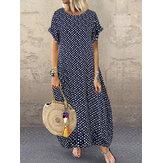 Kadın Polka Dot Baskı O-Yaka Kısa Kollu Maxi Elbise