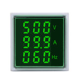 3pcs Geekcreit® 3 in 1 AC 60-500V 100A Square Green LED Digital Voltmeter Ammeter Hertz Meter Signal Lights Voltage Current Frequency Combo Meter Indicator Tester With Round CT