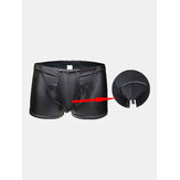Black Button Opening Crotch Baixa cintura Faux Leather Boxers