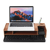2 poziomy Drewniany monitor komputerowy Riser Desktop Laptop Stand Organizer Storage Shelf Keyboard Storage Rack