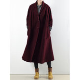 Women Long Sleeve Solid Color Casual Trench Coats