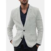 Mens linen casual trim style single suits jacket
