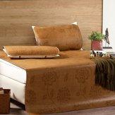 3 piezas / 1 juego de colchones de esterilla de bambú natural, funda de cama de enfriamiento de ratán para dormir de verano