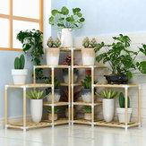 3+3+2Tiers Wooden Plant Stand Indoor Outdoor Patio Garden Flower Pot Stand Shelf