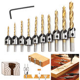 3-10mm HSS 5 Flute Countersink Drill Bit Set Carpentry Reamer Wood Working Chamfer Drill Bit
