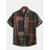 Mens Ethnic Style Modello Printing Casual Fashion Shirts