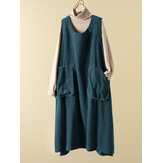 Women Corduroy Loose Pure Color Split Hem Sleeveless Dress