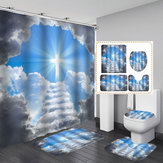 Break Through the Clouds Redemption Waterproof Bathroom Shower Curtain Toilet Cover Mat Non-Slip Floor Mat Rug Bathroom Set