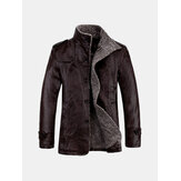 Herenkwaliteit PU Leren Jacket Slim Fit Plush Dik Warmjassenjas
