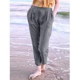 Harem sciolto casual elastico in vita solido donna Pantaloni