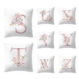 Simple Nordic Style Pink Alphabet ABC Pattern Throw Pillow Cover Home Sofa Creative Art Pillow Case