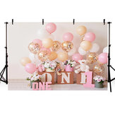 5x3FT 7x5FT 9x6FT 1st Birthday Pink Balloon Bear Photography Backdrop Background Studio Prop