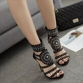 Women Roman Rhinestone Open Toe Party High Heels Pumps