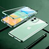 Custodia protettiva in vetro temperato bifacciale in metallo ad adsorbimento magnetico Bakeey per iPhone 11