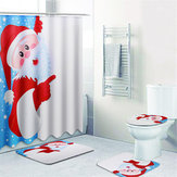 4Pcs Christmas Santa Claus Non-Slip Toilet Rug Cover Bath Mat+Shower Curtain Set
