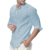 INCERUN Mens Cotton Button Neck Casual Long Sleeve Slim Fit Shirt Tee Tops