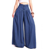 Wide Leg Casual Pure Color Side Pocket Trousers Baggy Pants for Women