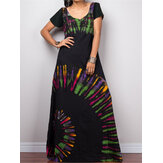 Women Short Sleeve Bohemia Printed Party Maxi dress