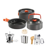 14 Pcs Camping Cooking Cookware Set Pots Pans Cups Stove Kettle Tableware