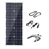 40W Flexible Solar Panel USB Monocrystalline Connecter Battery Charger For Camping Hiking Climbing Cycling