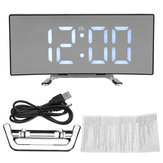 Alarm Clock LED Mirror Display Digital Temperature Snooze Table USB Charging