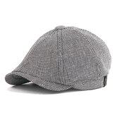 Męska beretowa czapka w stylu vintage z bawełnianej kraty