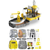 Construction Toys Sets Children's Construction Engineering Set Collection Model Vehicles Metal Tractor Toys Including Tire Shape Track Station Boy Toy Gift