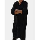 Vintage V Boyun Bölünmüş Tunik Gömlek Gevşek Drapeli Orta Uzun Üstleri