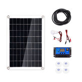 30W Polysilicon Solar Panel + 10A Solar Controller with Cables Set for  RV Roof Boat