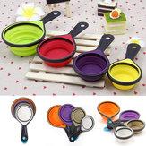 4Pcs Silicone Copo de medição Bolo de colher Ferramenta de cozinha Bolo dobrável Cozinha Cozinha