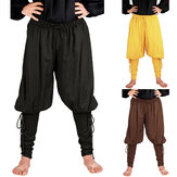 Medieval Renaissance Mens Pirate Knight Trousers Lace Long Pants Cosplay Costume
