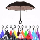 Double Layer Blossom Design Ultraviolet-Proof Upside Down Inverted Umbrella C-Shaped Handle Windproof Parasol For Men Women