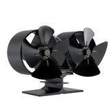 IPRee® 8 pás Ventilador para lareira de dois motores, Ventilador de calor térmico, Fogão térmico, Queimador de madeira, Ventilador térmico