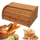 Nature Bamboo Wooden Roll Up Kitchen Pan Caja Bin Storage Holder Cestas Contenedor