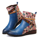 Women Retro Buckle  Weaving Stitching Ankle Boots