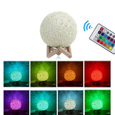 USB Wooden Rattan Table Light Dimming Desk Bedroom Night LED Ball Home Decorations