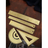 Brass Ruler Metal Triangle Straight Ruler for Woodworking Measuring Ruler Wave Line Drawing Tools