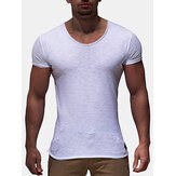 Verão Mens Thin Solid Color V-neck Short Sleeve Tops
